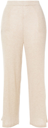 Skin Cropped Ribbed Melange Wool-blend Pajama Pants