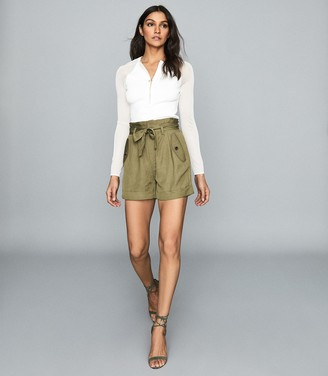 Reiss Lorena - Pleated Twill Shorts in Olive