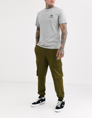 Converse Mountain Club logo cargo sweatpants in khaki-Green