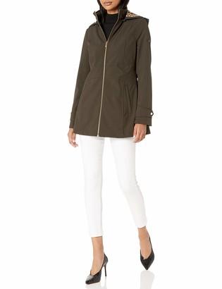Via Spiga Women's Hooded Soft Shell Scuba Jacket W/Animal Print Backing