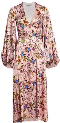 Adriana Iglesias Stretch-Silk Floral Balloon-Sleeve Gown