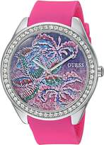 GUESS GUESS? Women's Quartz Stainless Steel and Silicone Casual Watch, Color:Pink (Model: U0960L1)