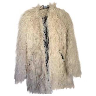 Shine Ecru Faux fur Coat for Women