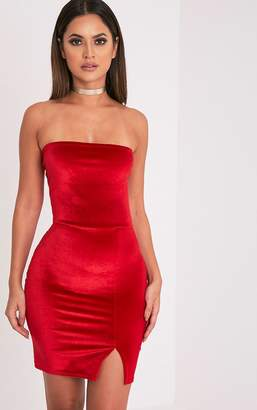 PrettyLittleThing Layala Red Velvet Split Detail Bandeau Dress