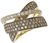 LeVian Diamond And 14K Gold Crossed Band