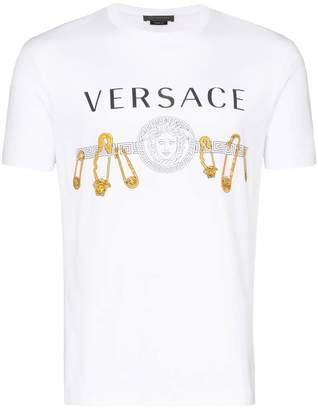 Versace safety pin logo print t-shirt