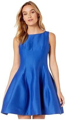 Halston Fit and Flare Silk Faille Dress (Ultramarine) Women's Dress