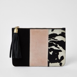 River Island Womens Pink suede colour blocked clutch bag