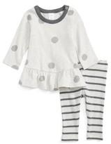 Nordstrom Infant Girl's Polka Dot Peplum Tunic & Stripe Leggings Set