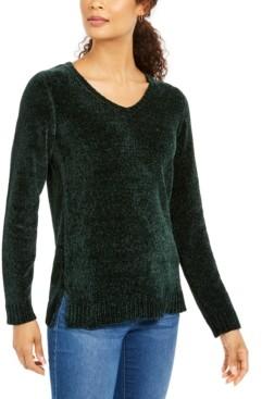 Karen Scott Chenille V-Neck Sweater, Created for Macy's