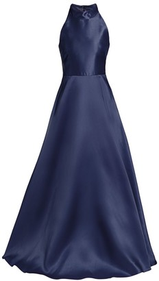 ML Monique Lhuillier Halter Satin Ball Gown