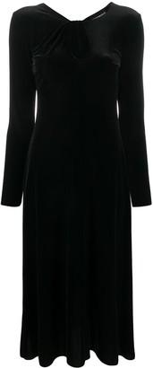 Emporio Armani Velvet-Effect Midi Dress