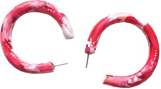 Emily Laura Designs Red, Pink & White Painted Hoop Earrings