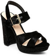 Wild Diva Black Carter Crushed Velvet Chunky Platform Sandals
