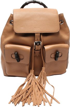 Gucci Brown Leather Tassel Bamboo Backpack