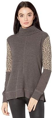 Miss Me Leopard Print Turtleneck Long Sleeve (Charcoal Grey) Women's Clothing