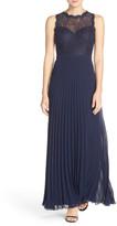 Xscape Evenings Lace & Pleat Chiffon Gown