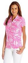 Caribbean Joe Women's Printed Birdseye Tropical Pineapple Leaf Preppy Button Collared Y Neck Short Sleeve Polo Shirt