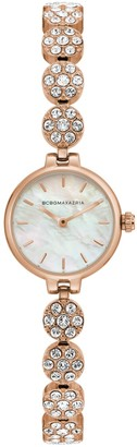BCBGMAXAZRIA Classic Rose Goldtone Stainless Steel, Mother-Of-Pearl & Crystal Bracelet Watch