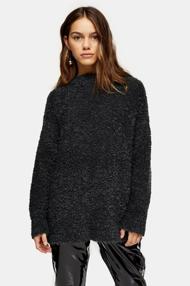 Topshop Womens Petite Charcoal Grey Knitted Boucle Longline Jumper - Charcoal