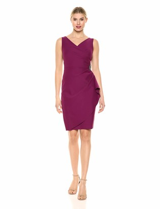 Alex Evenings Women's Slimming Short Ruched Dress (Petite and Regular Sizes)