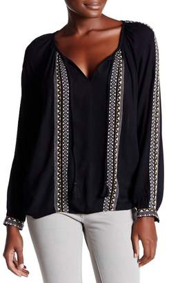Love Stitch Long Sleeve Embroidered Blouse