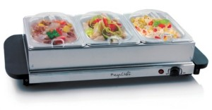 Mega Chef MegaChef Buffet Server, Food Warmer with 3 Removable Sectional Trays, Heated Warming Tray and Removable Tray Frame