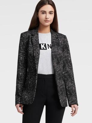 DKNY Single-button Knit Jacquard Blazer