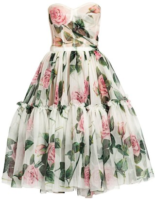 Dolce & Gabbana Strapless Rose Print Silk Organza Dress