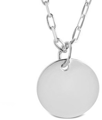Sterling Forever Silver Disc Charm Necklace