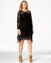 American Rag Plus Size Handkerchief-Hem Lace Dress, Only at Macy's