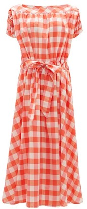 Thierry Colson Vera Waist-tie Cotton-blend Gingham Dress - Red White