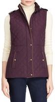 Lauren Ralph Lauren Petite Women's Faux Leather Trim Quilted Vest