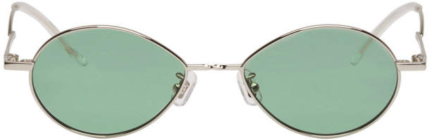 Gentle Monster Silver and Green Cobalt Sunglasses