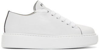 Prada White Cassetta Logo Platform Sneakers