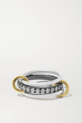 Spinelli Kilcollin Petunia Set Of Three 18-karat Gold, Sterling Silver, Rhodium-plated And Diamond Rings