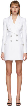 Balmain White Wool Blazer Dress