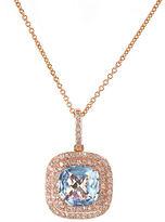Effy 14K Rose Gold Aqua and Diamond Pendant Necklace