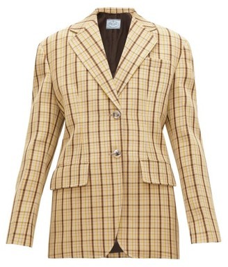 Prada Single-breasted Checked Wool Blazer - Beige Multi