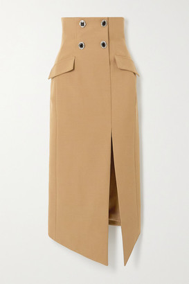 David Koma Embellished Wool-twill Midi Skirt - Sand