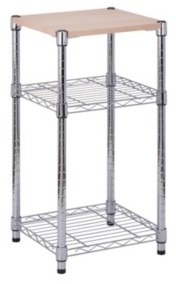 Honey-Can-Do Chrome 3-Tier Shelving Unit with Wood Top