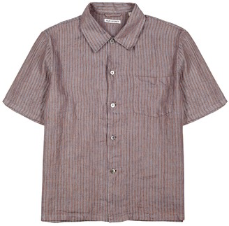 Our Legacy Blue and burgundy striped linen shirt