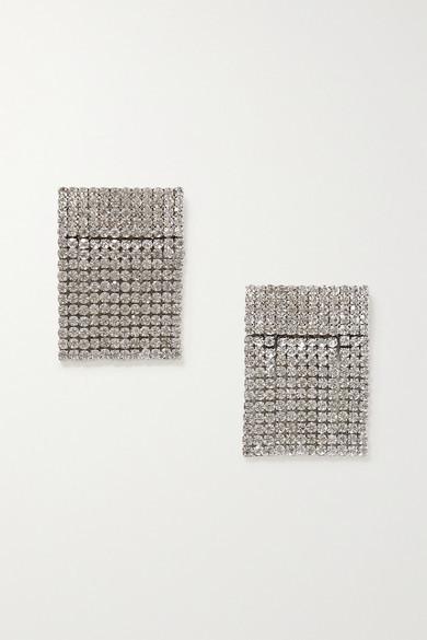 retrofete Fringed Crystal-embellished Silver-tone Shoe Clips - one size