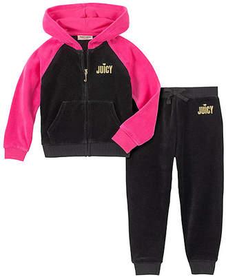 Juicy Couture Girls' Casual Pants 2005 - Black & Hot Pink 'Juicy' Velour Hoodie & Black Sweatpants - Toddler