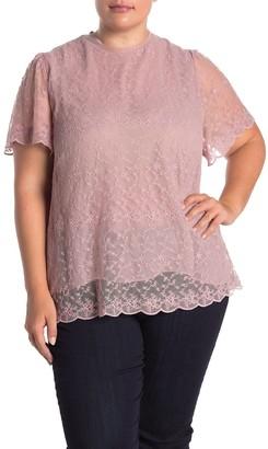 Everleigh Mock Neck Romantic Lace Blouse (Plus Size)