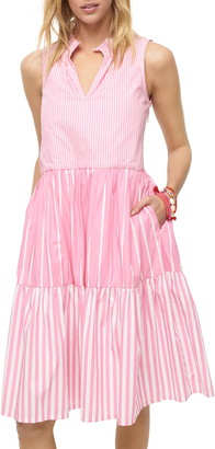J.Crew Mixed Stripe Sleeveless Tiered Popover Dress