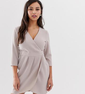 Asos DESIGN Petite mini dress with wrap skirt-Grey