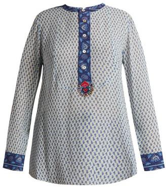 Figue Milagro Paisley Print Silk Chiffon Shirt - Womens - Blue Multi