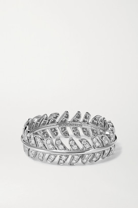 Boucheron Plume De Paon 18-karat White Gold Diamond Ring - 52