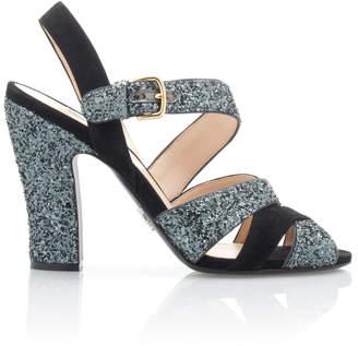 Prada Glittered Suede Sandals